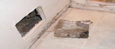 saturated wallboard must be dried or mold will grow often on the hidden paper backside of the wallboard in the wall cavity